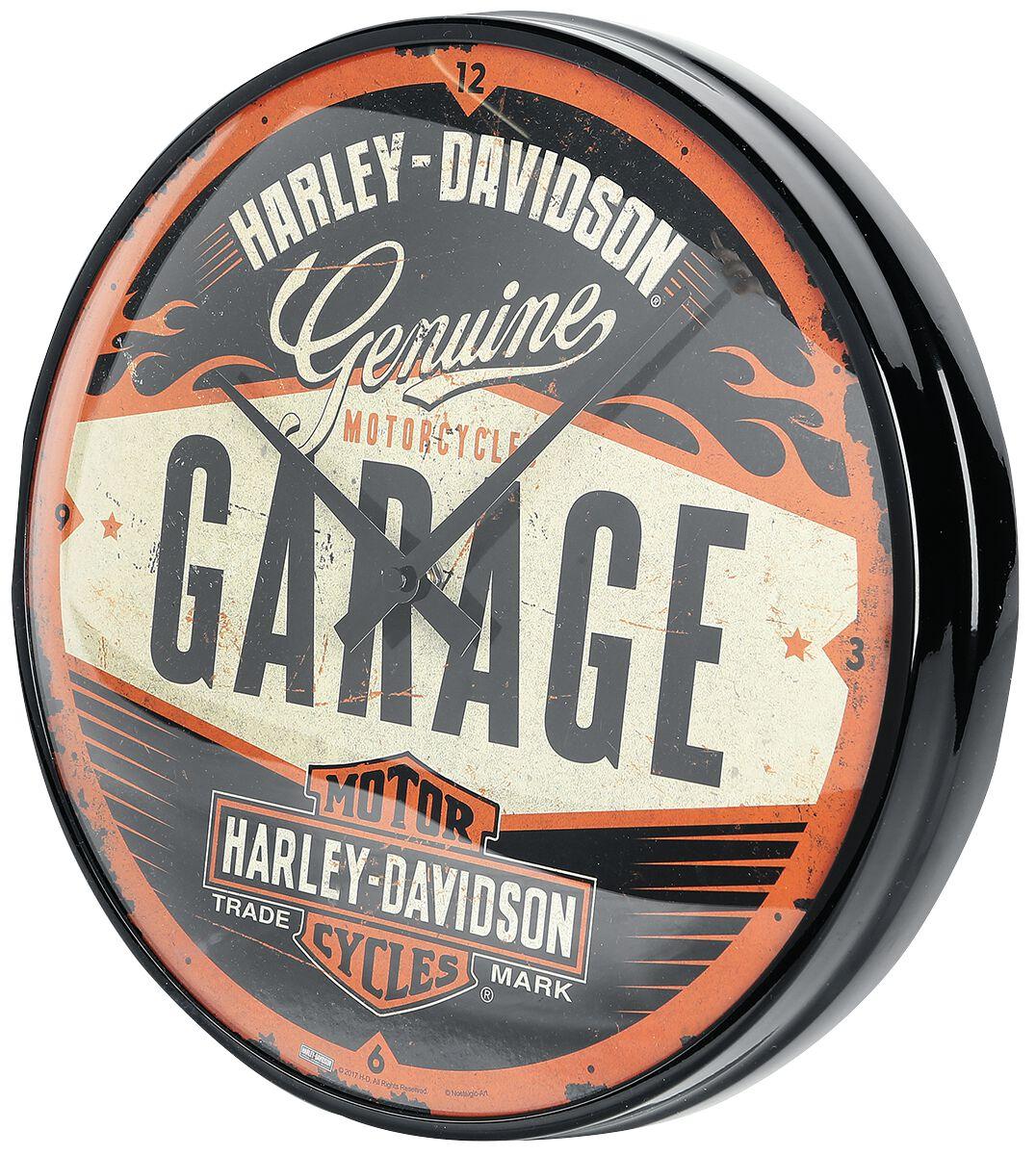 garage harley davidson wanduhr emp. Black Bedroom Furniture Sets. Home Design Ideas