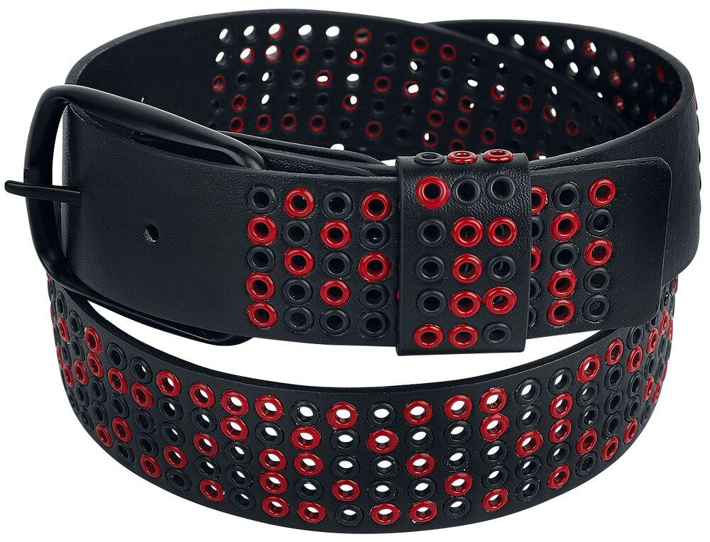 Schwarzer Gürtel mit schwarzen und roten Ösen
