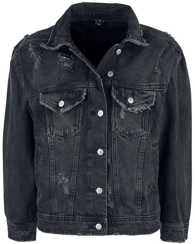 Schwarze Jeansjacke mit Destroyed Effekten