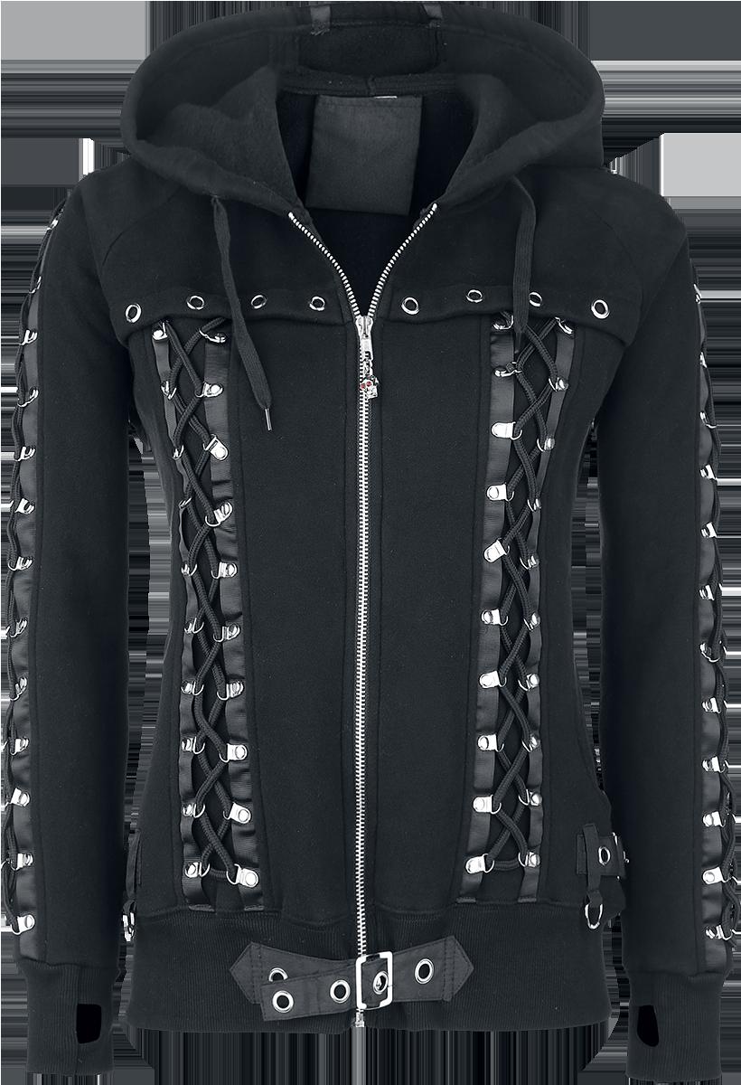 Banned - Corset Hoodie - Girls hooded zip - black image