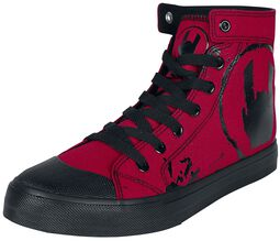 Rote Sneaker mit Rockhand-Print