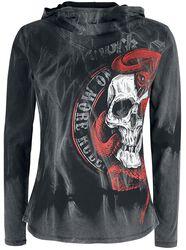 Langarmshirt mit Kapuze und Skull-Print
