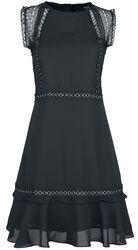 Schwarzes Kleid mit Ösen- und Spitzendetails