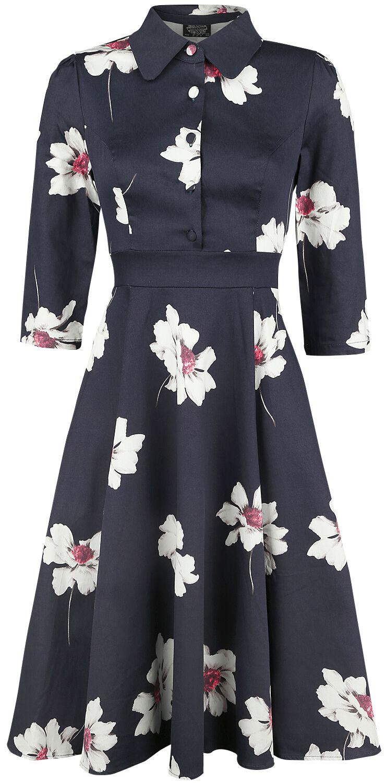 Kleider für Frauen - H R London Grace Midnight Shirt Swing Dress Kleid blau weiß  - Onlineshop EMP