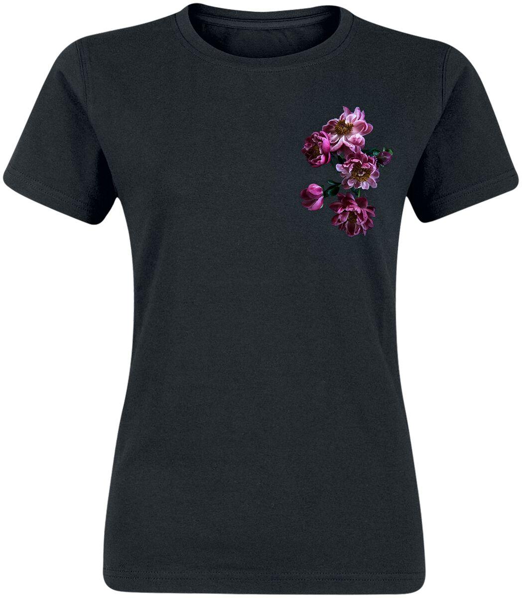 gingercat Pfingstrosen T-Shirt schwarz POD - FOTL VW - Pfingstrosen