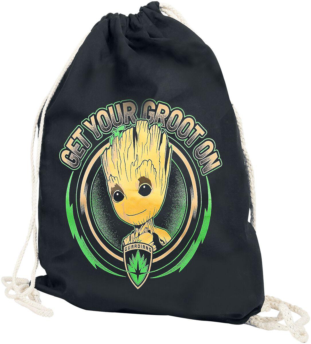 Sporttaschen - Guardians Of The Galaxy Get Your Groot On Turnbeutel schwarz  - Onlineshop EMP