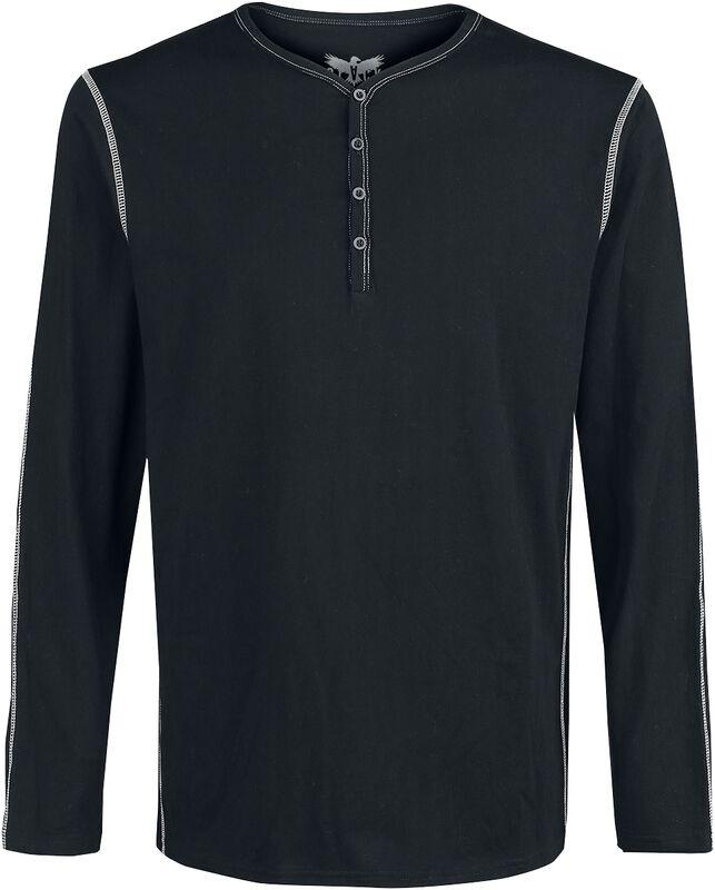 Schwarzes Langarmshirt mit Knöpfen und Kontrastnähten