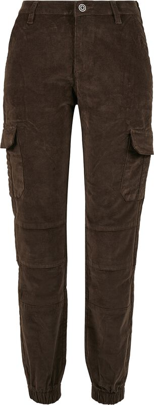 Ladies High Waist Cargo Corduroy Pants