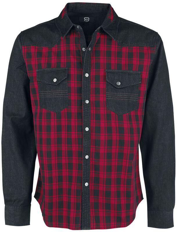 Schwarz/Rote kariertes Hemd mit Brusttaschen