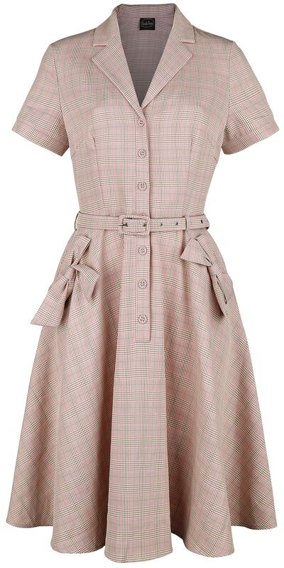 Kenzy Plaid Bow Pocket Button Up Flare Dress