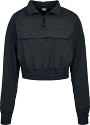 Ladies Cropped Crinkle Nylon Pull Over Jacket