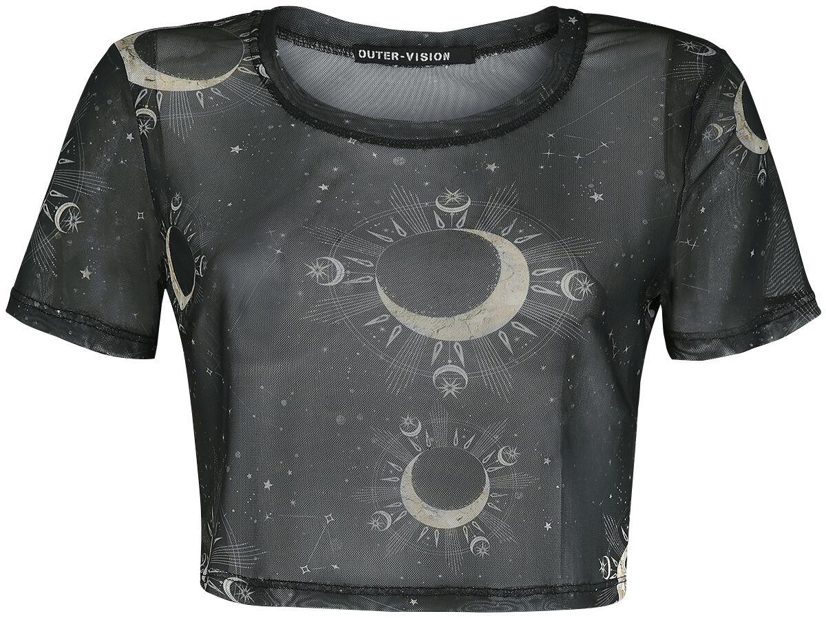 Outer Vision Astrology T-Shirt schwarz 2426-OV Woman's Top Liv Astrology Solid black