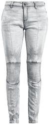 Hellgraue Jeans mit Bikernähten