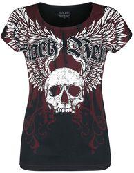 schwarz/rotes T-Shirt mit Print und Rundhalsausschnitt