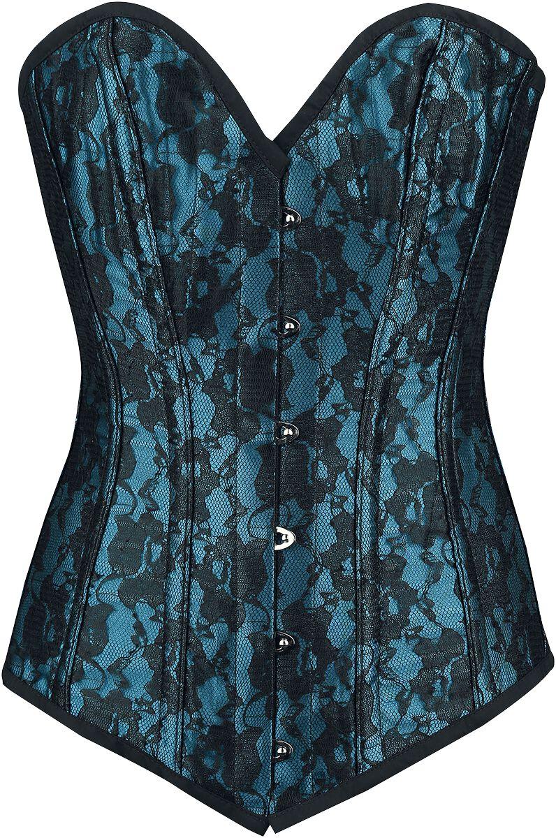 Waesche für Frauen - Burleska Victorian Korsage blau schwarz  - Onlineshop EMP