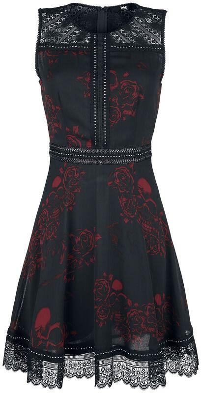 Schwarzes Kleid mit Alloverprint, Nieten- und Spitzendetails