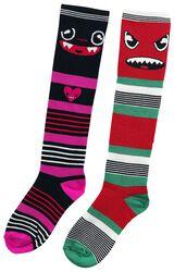 2er Pack Monster Gestreifte Socken