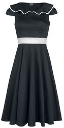 50s Black Flute Collar Dress