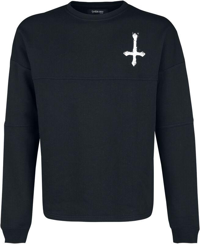 Schwarzes Sweatshirt mit Print auf Brust und Rücken