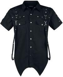 Schwarzes Kurzarmhemd mit Nieten- und Ösendetails und spitz zulaufendem Saum