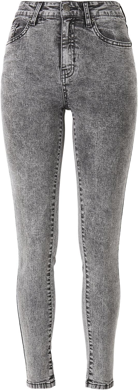 Urban Classics Ladies High Waist Skinny Jeans Jeans grau TB2970 black heavy acid wash