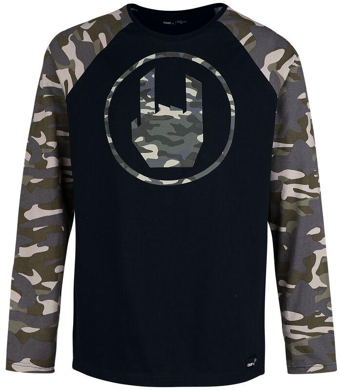 Schwarzes Langarmshirt mit Rockhand-Print und Raglanärmeln
