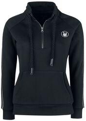 Schwarzes Sweatshirt mit Reißverschluss und dekorativ reflektierenden Elementen