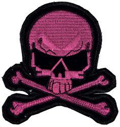 Kleiner rosa Totenkopfaufnäher