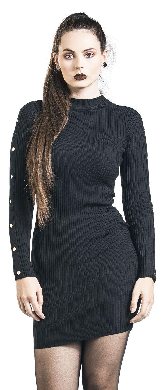 Kleider - QED London Button Sleeve Rib Dress Kurzes Kleid schwarz  - Onlineshop EMP