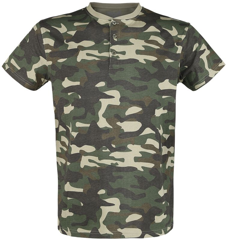 camouflage T-Shirt mit Knopfleiste