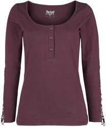 bordeaux rotes Longsleeve mit Knopfleiste