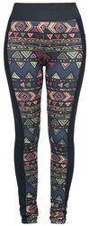 Schwarze Leggings mit farbenfrohem Muster