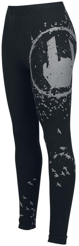 Schwarze Leggings mit Rockhand-Print