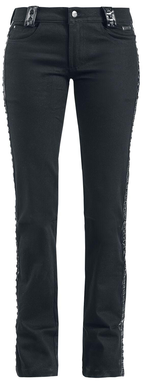 Hosen für Frauen - Queen Of Darkness Hose mit seitlichen Lederimitatapplikationen Stoffhose schwarz  - Onlineshop EMP