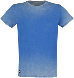 Blaues T-Shirt mit Waschung