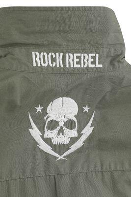 grünes Army Hemd mit Patches und Brusttaschen