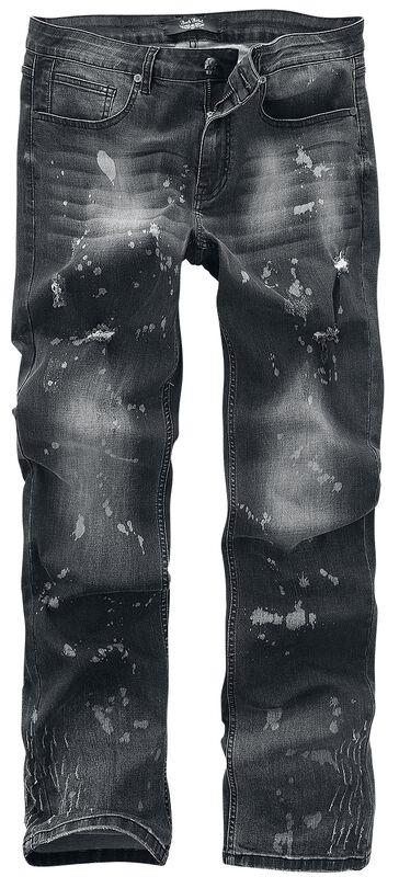Pete - graue Jeans mit Waschung, Farbspritzern und leichtem Used-Look