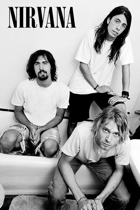 Nirvana Bathroom Poster schwarz weiß PP34332
