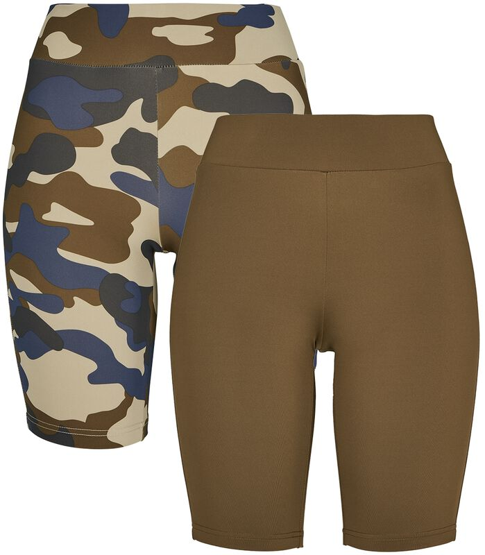 Ladies High Waist Camo Tech Cycle Shorts Double Pack