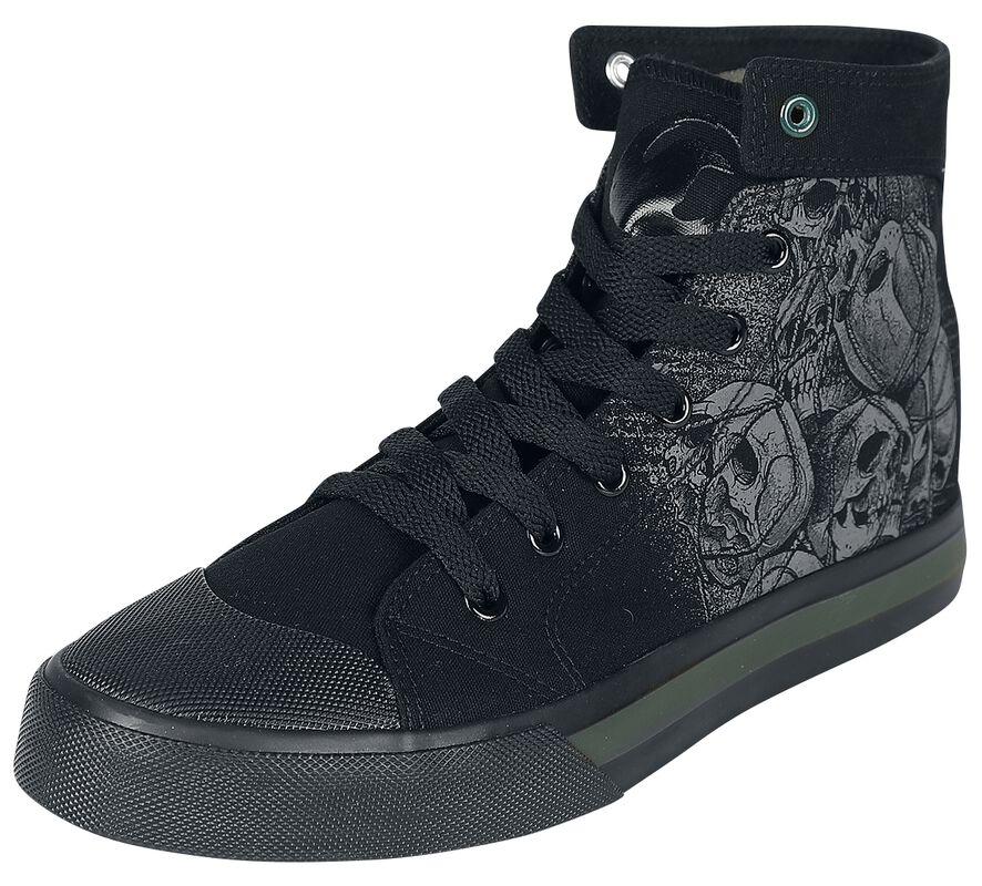 Schwarze Sneaker mit Skull-Print