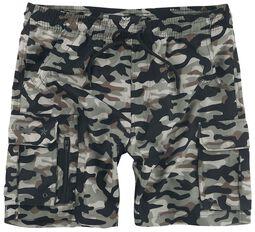 Badeshorts mit Camouflagemuster und Taschen