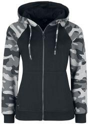 Schwarze Kapuzenjacke mit Camouflage Muster