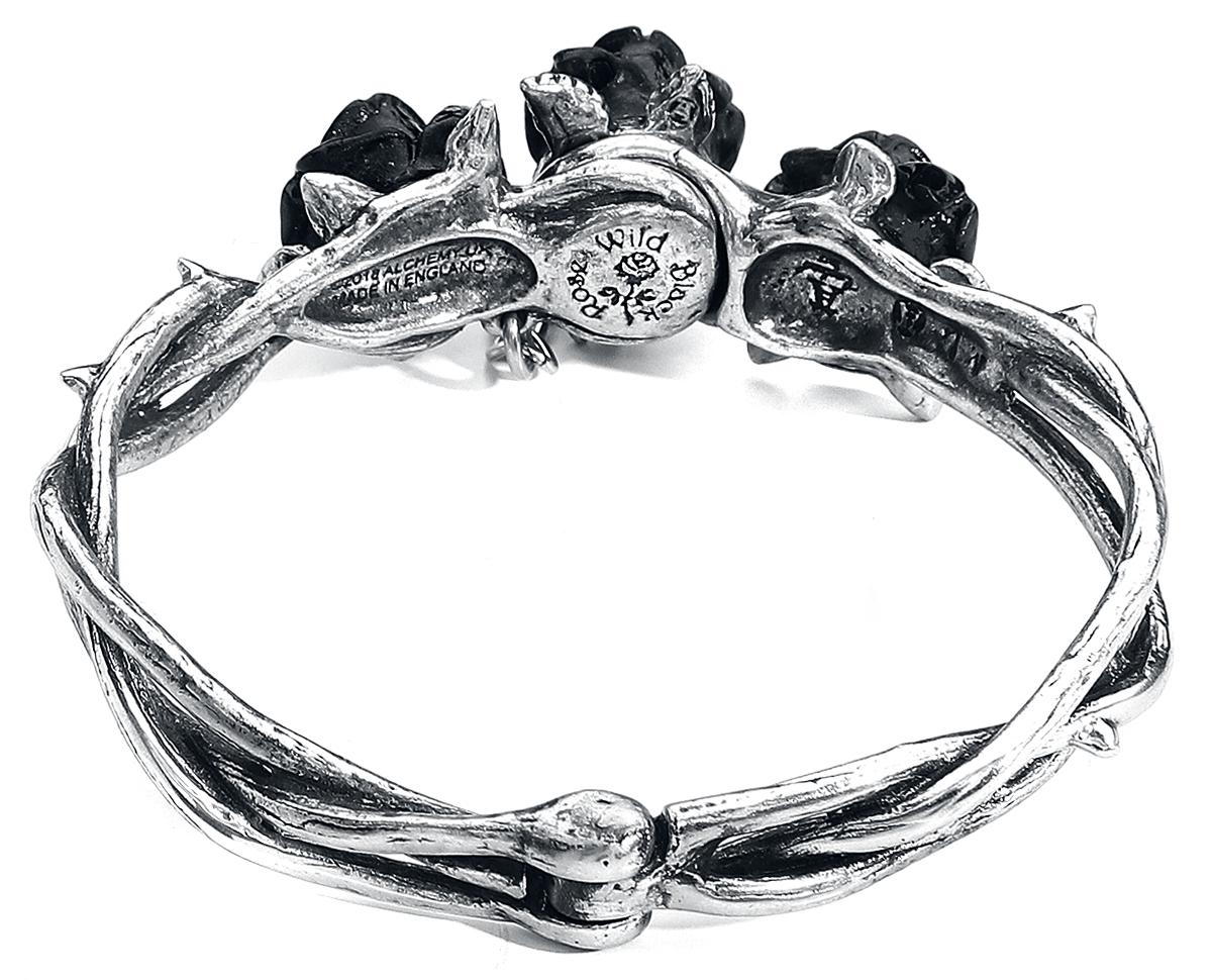 Image of Alchemy Gothic Wild Black Rose Armreif silberfarben