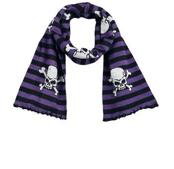 gestreifter Schal mit Skulls