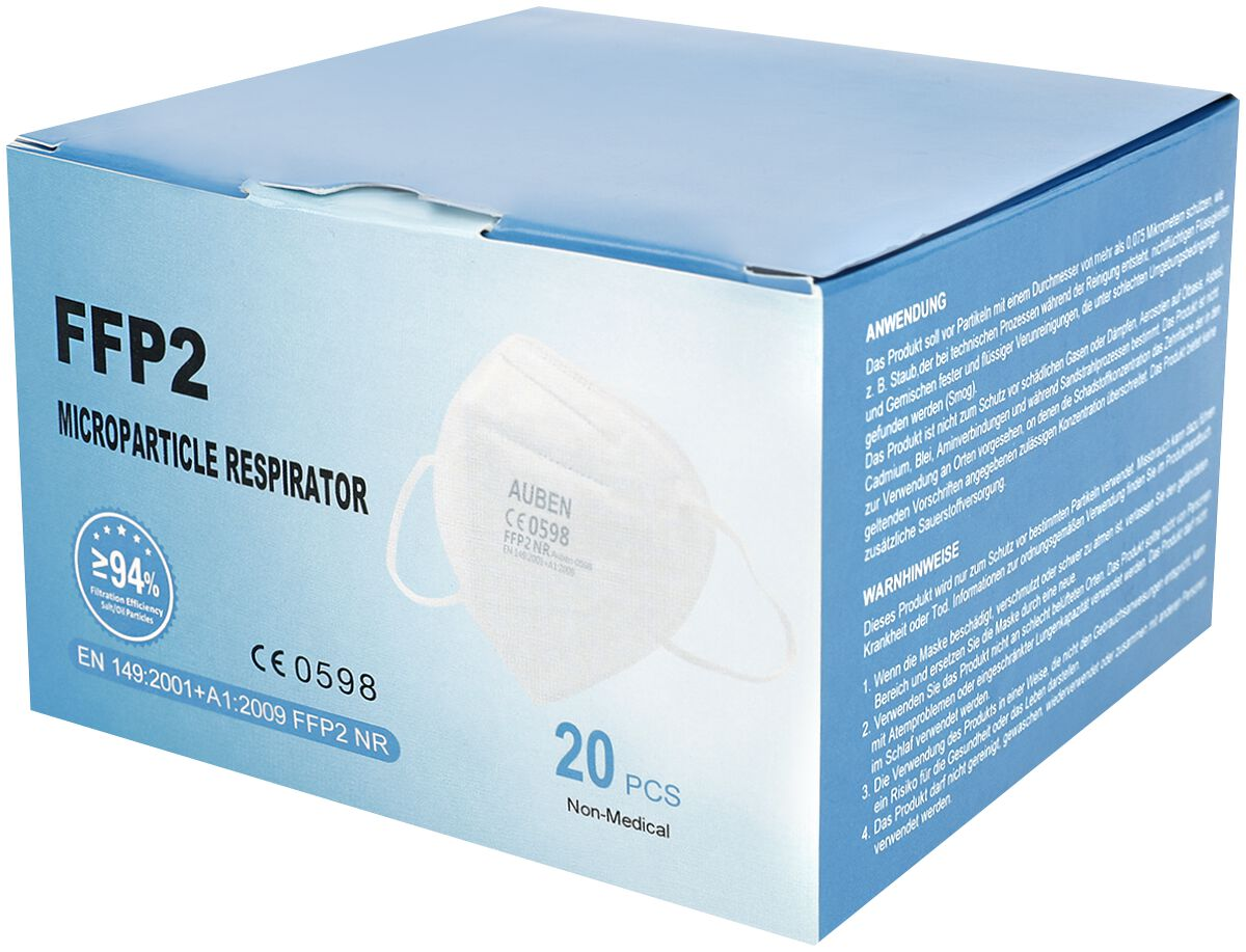 FFP2-Maske 20er-Box Maske weiß FFP 2 20er Box Auben CE 0