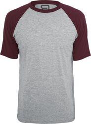 grau meliertes T-Shirt mit bordeaux Ärmeln