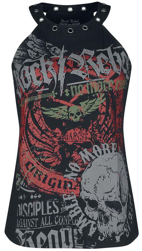 Top mit Print und Ösen Rock Rebel