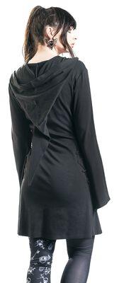 Schwarzes Kleid mit Kapuze