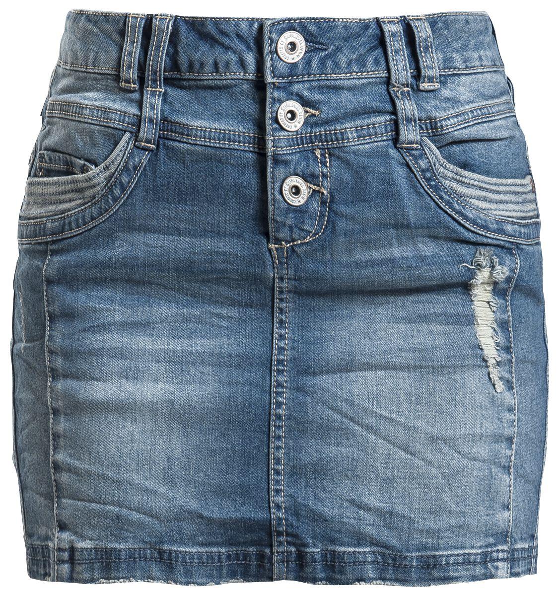 Roecke für Frauen - Sublevel Ladies Destroyed Denim Skirt Kurzer Rock blau  - Onlineshop EMP