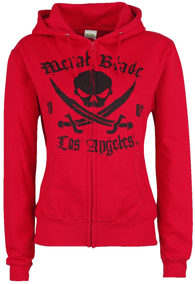 Metal Blade - Pirate Logo - Girls hooded zip - red image